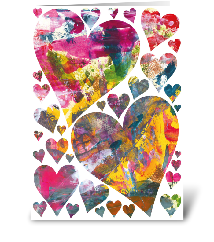 30 Beautiful abstract hearts card greeting card