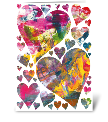 Beautiful abstract hearts card greeting card
