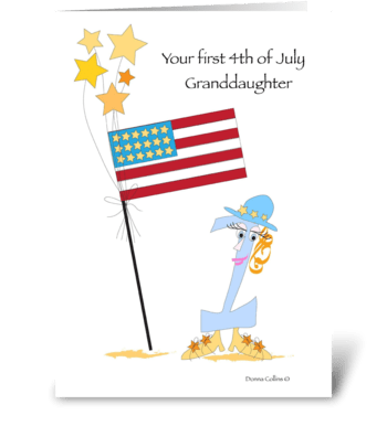 First Fourth of July Grandaughter greeting card