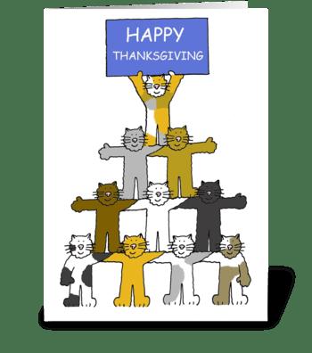 Thanksgiving Cartoon Cats greeting card
