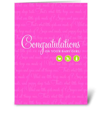Sugar & Spice Baby Girl greeting card