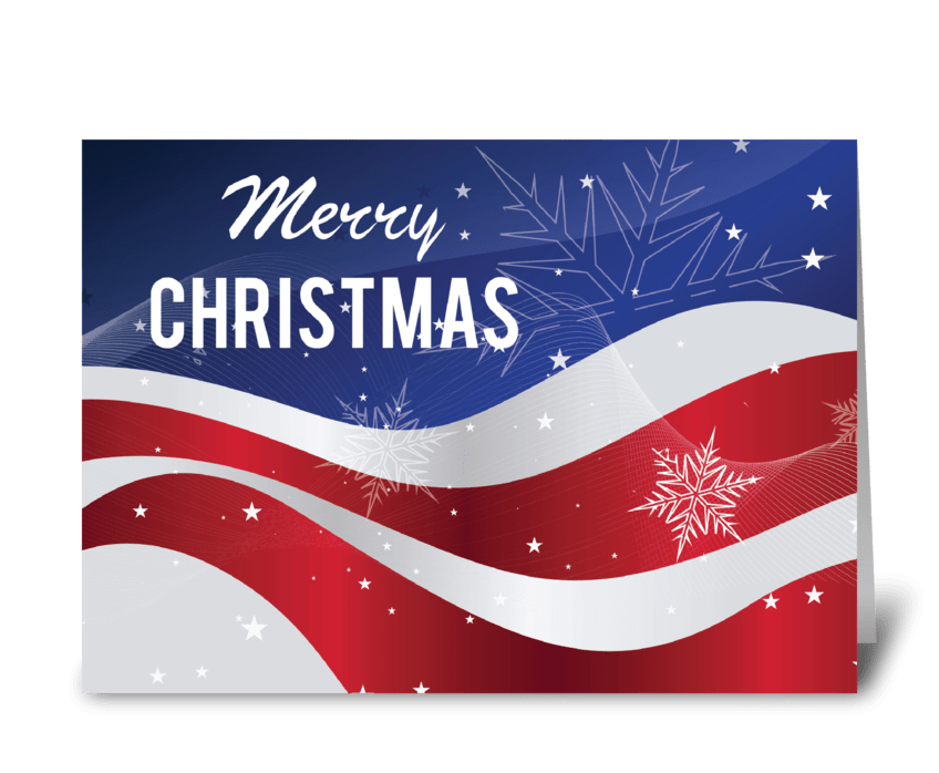 Patriotic Merry Christmas Flag With Snow greeting card
