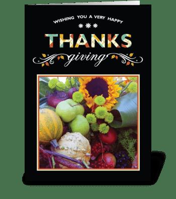 Thanksgiving Card on Black greeting card