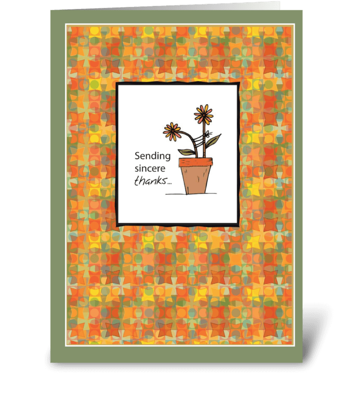 Flower Pot Thanks greeting card
