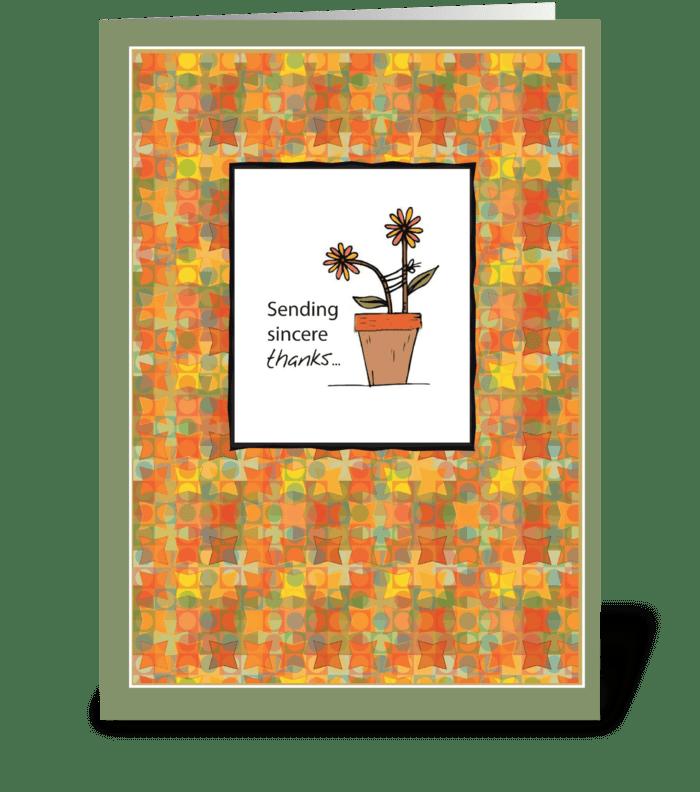Flower Pot Thanks greeting card