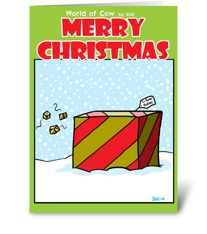 Cow Christmas Present greeting card