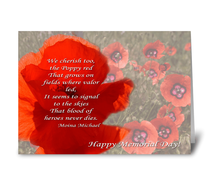 Poppy head with poem greeting card