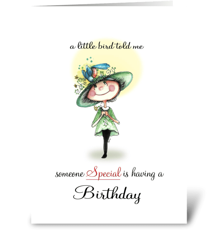 whimsical Birdy, Birthday greeting greeting card