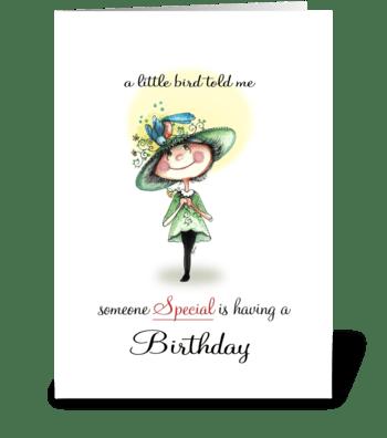 whimsical Birdy, Birthday greeting greeting card