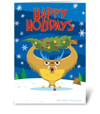 Tree-mendous Hoilday Monster greeting card
