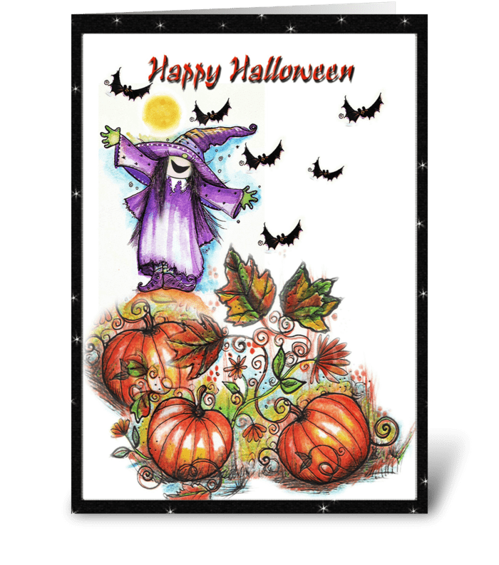 Whimsical witch and pumpkins Card greeting card