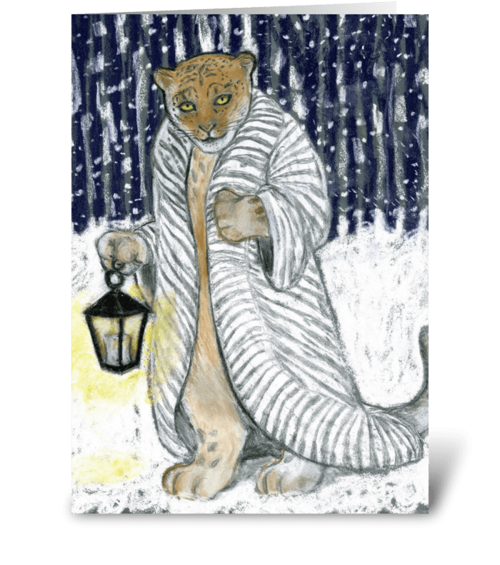 Snow Leopard on a Winter Night greeting card