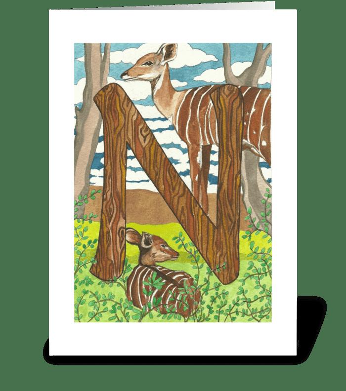 N for Nyala greeting card