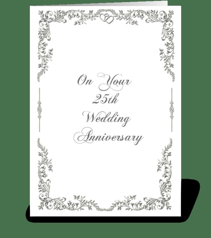 Silver Scroll 25th Anniversary Congrats greeting card