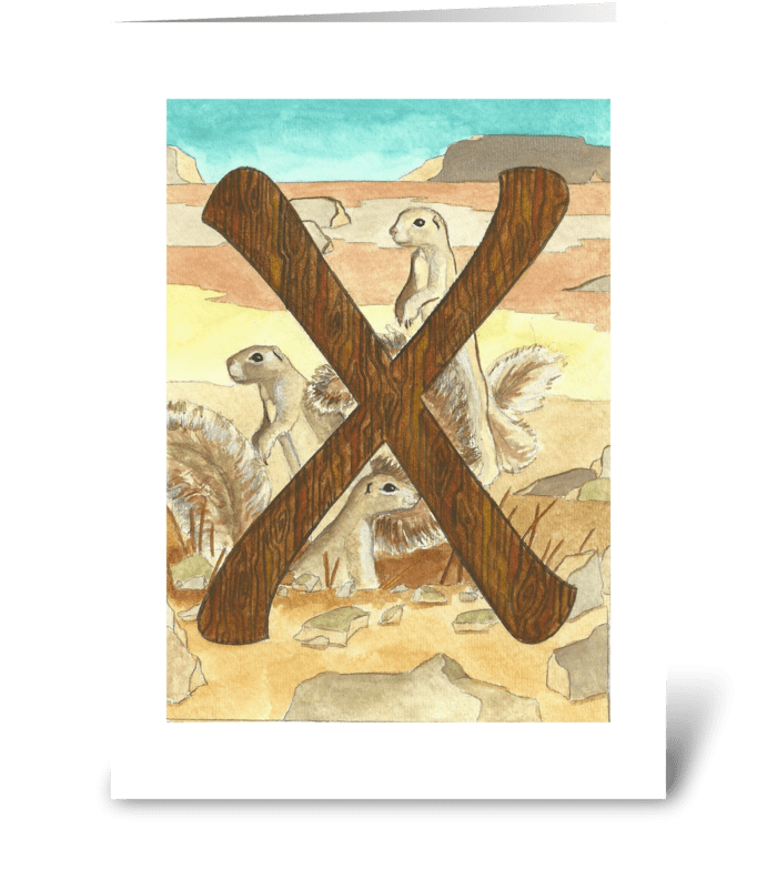 X is for Xerus greeting card