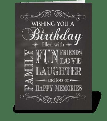 Chalkboard Birthday filled with fun etc. greeting card