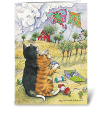 Kite Flying Cats Birthday #31 greeting card