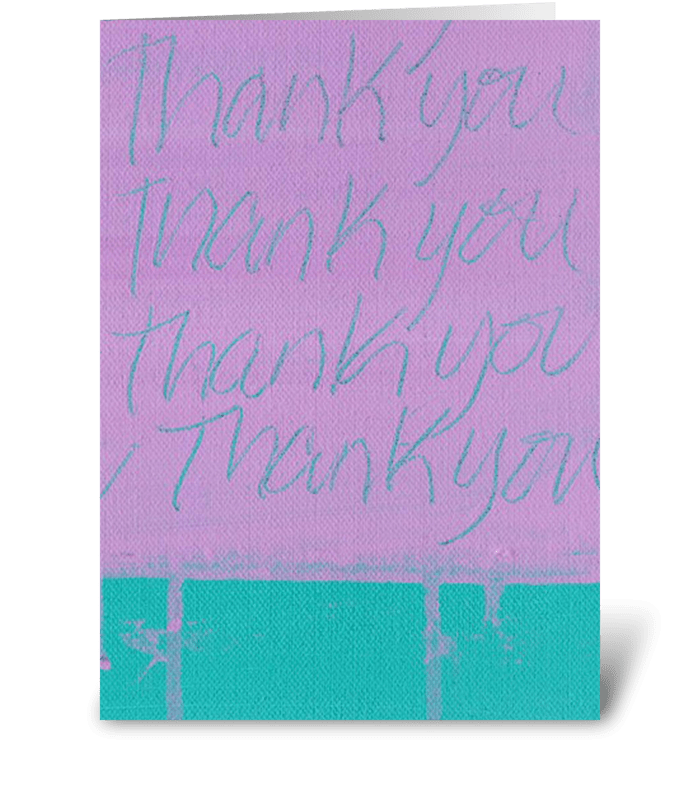 Thank You Painting - Purple on Teal greeting card