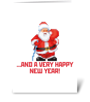 Santa-pixels greeting card