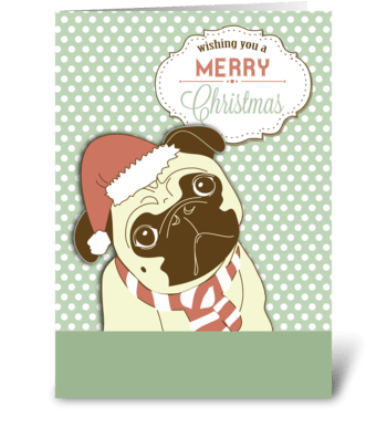 Pug Dog Merry Christmas greeting card