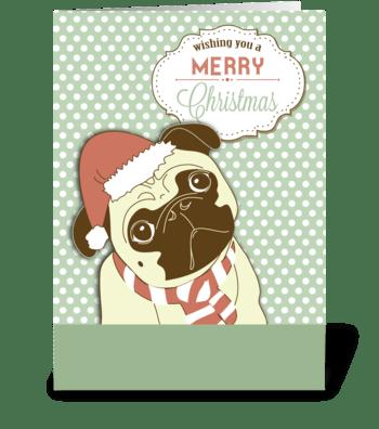 Pug Dog Merry Christmas greeting card