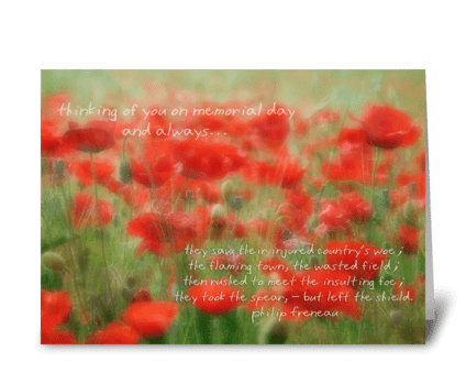 Thinking of you on Memorial day greeting card