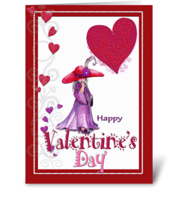Little Red Hatter Valentine  greeting card