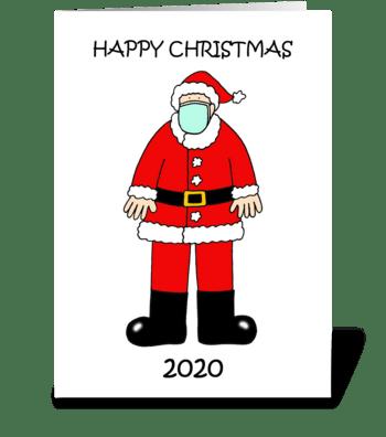 Covid 19 Happy Christmas Santa CArtoon greeting card
