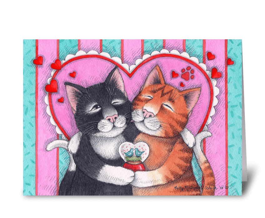 Valentine Hug Cats #73 greeting card