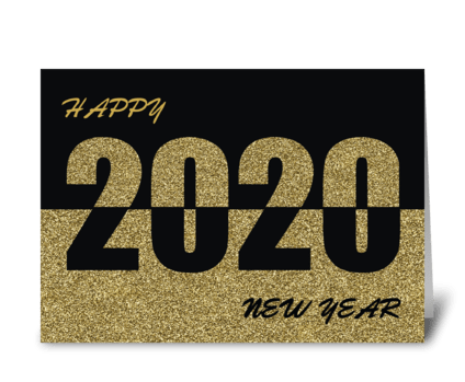 Happy New Year 2020, Gold Glitter-Look  greeting card