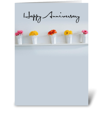 4006 Anniversary Row of Flowers greeting card