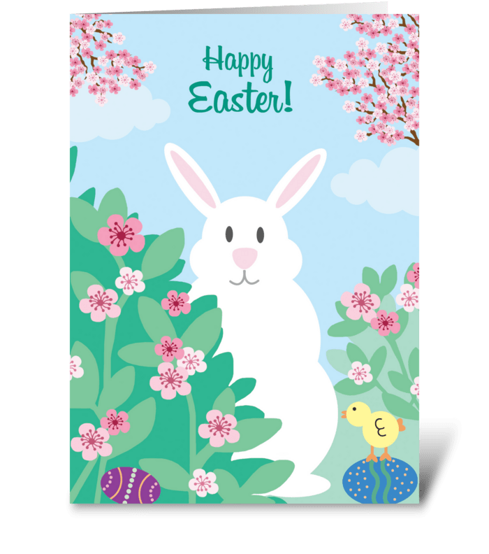 Easter Bunny & Chick greeting card
