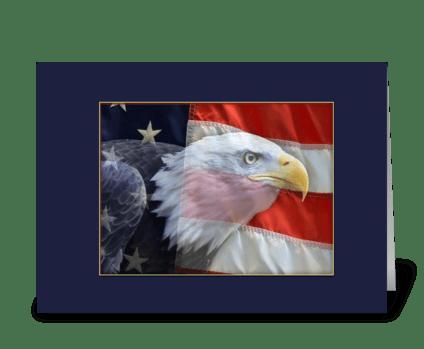 American Bald Eagle, Flag greeting card
