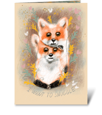 Cute fluffy foxes greeting card