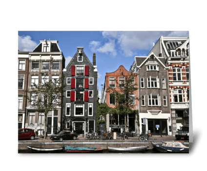 Boats and Buildings In Amsterdam greeting card
