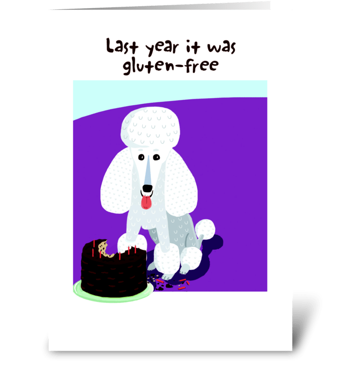 Poodle Birthday Cake greeting card
