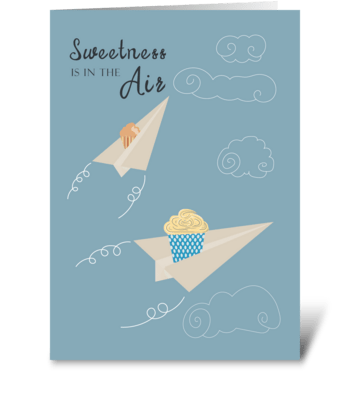 Cupcake Paper Airplanes Birthday greeting card
