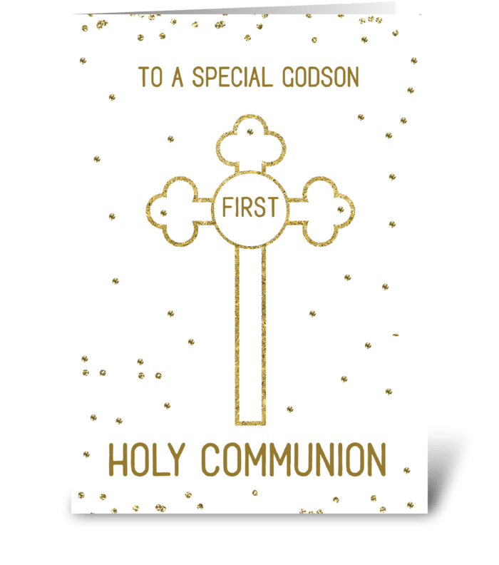 Godson First Holy Communion Gold Look greeting card
