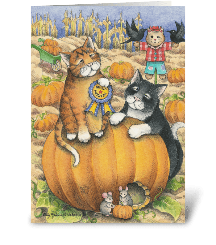 Giant Pumpkin Halloween Cats #22 greeting card