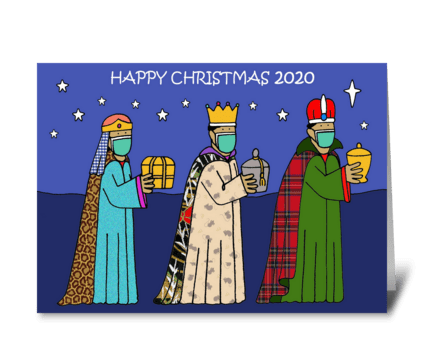 Covid 19 Happy CHristmas Three Wise Men greeting card