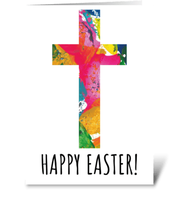 126 Easter Cross - Happy Easter greeting card