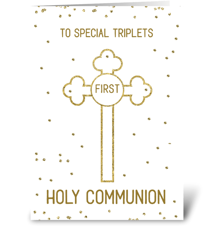 Triplets First Holy Communion Gold Look  greeting card