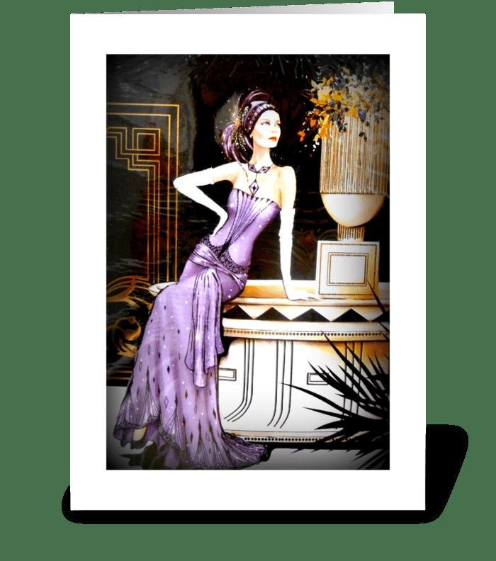 Art Deco Lady in Purple greeting card