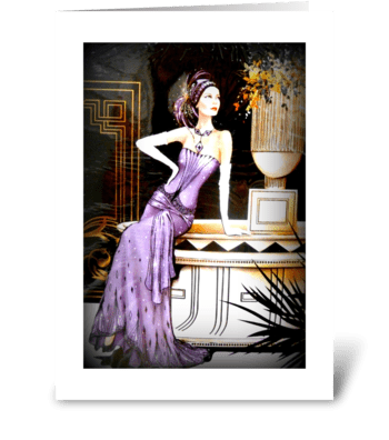 Art Deco Lady in Purple greeting card