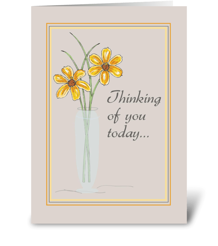 Two Flowers in Vase, Thinking of You greeting card