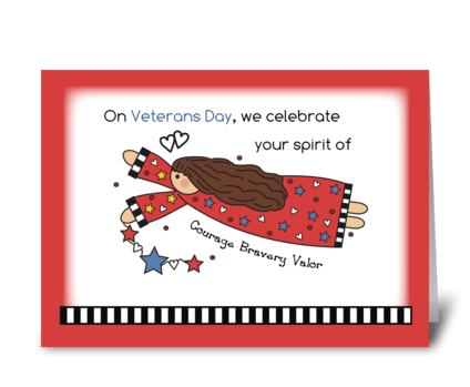 Veterans Day Angel Courage, Bravery greeting card
