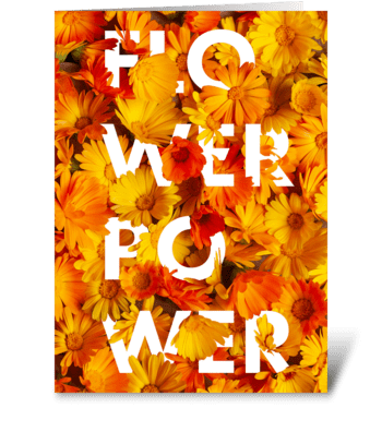 Flower Power – orange and yellow greeting card