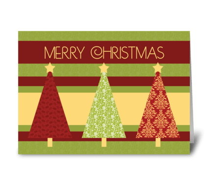Merry Christmas Patterned Trees greeting card
