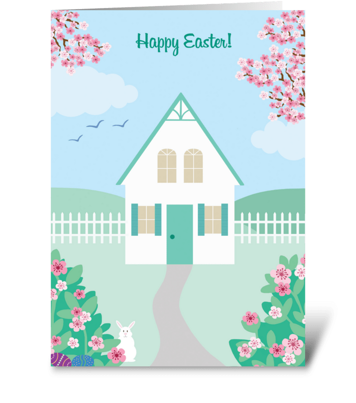 Easter Cottage greeting card