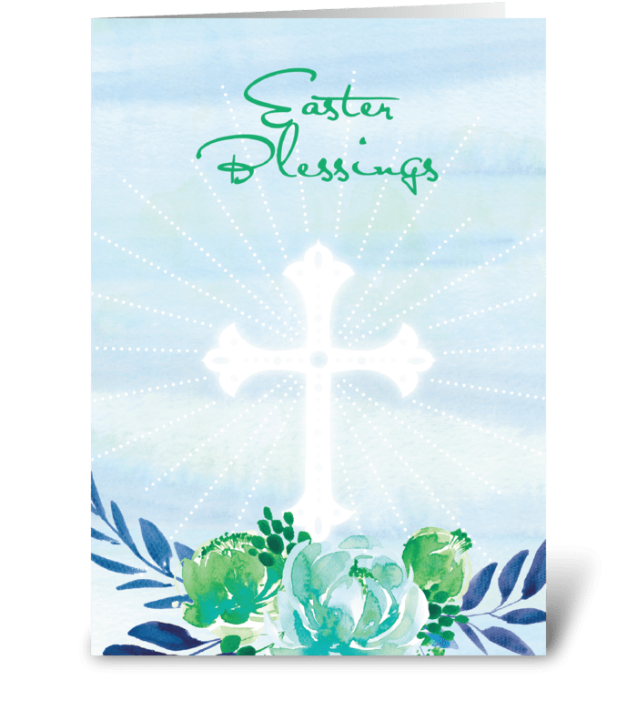 Easter Blessings Blue, Green, Flowers greeting card